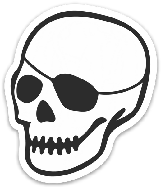 patched-skull decal 4""
