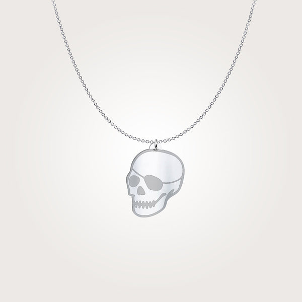 ANTISTATE patched-skull sterling charm