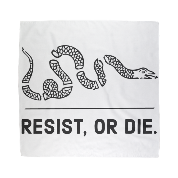 resist, or die white bandana