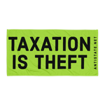 taxation is theft towel lime/black