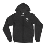 patched-skull embroidered zip hoodie