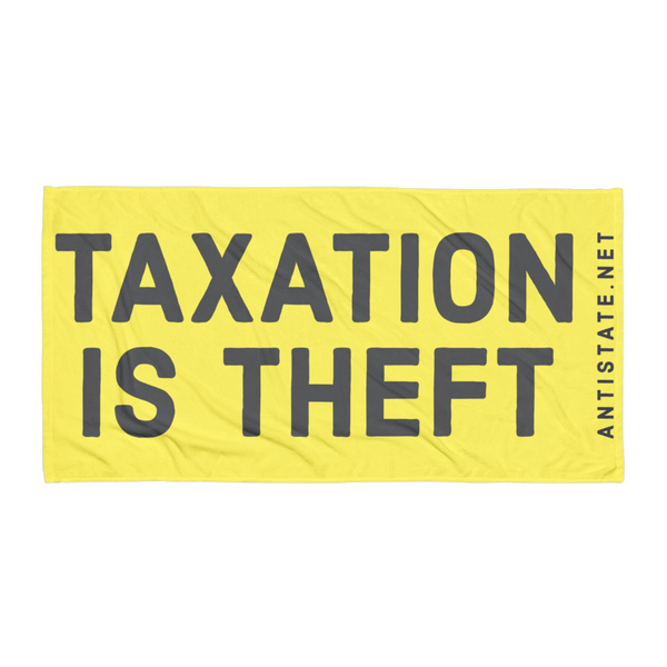 taxation is theft towel - yellow/black