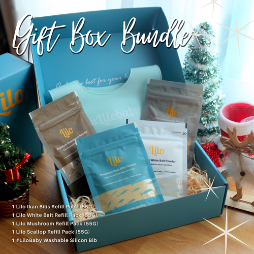 Bundle Gift Box  With FREE #LiloBaby Washable Silicon Bib & Courier Delivery - Lilo Premium Ikan Bilis Powder