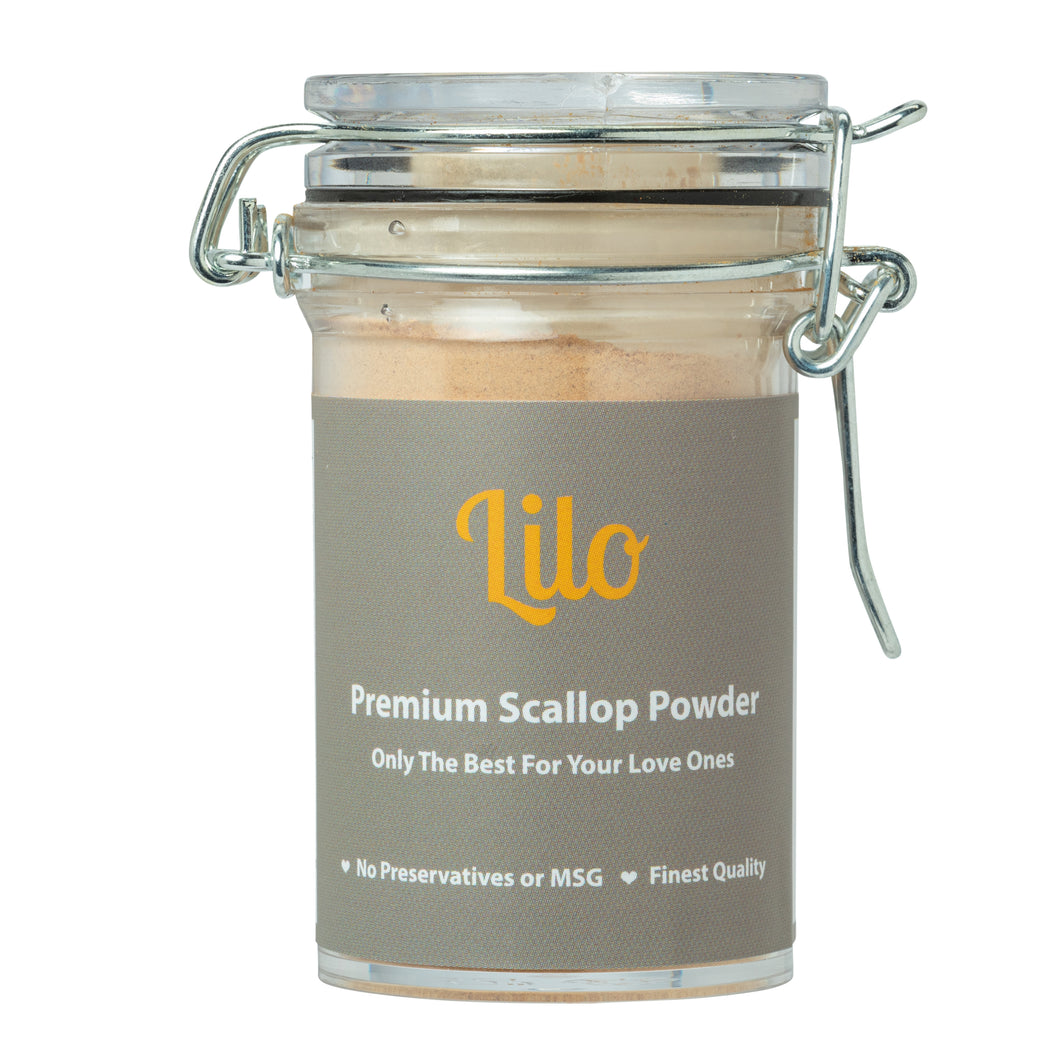 Lilo Premium Scallop Powder Bottle 50grams - Lilo Premium Ikan Bilis Powder