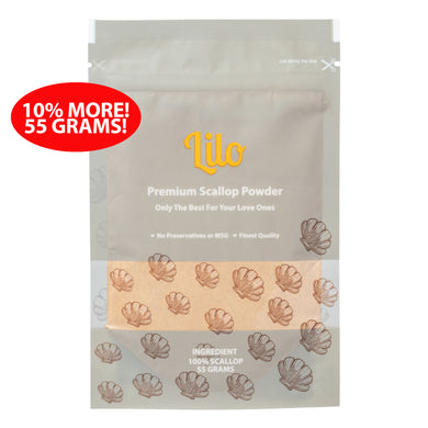 Lilo Premium Scallop Powder Resealable Refill Pack 55 grams - Lilo Premium Ikan Bilis Powder