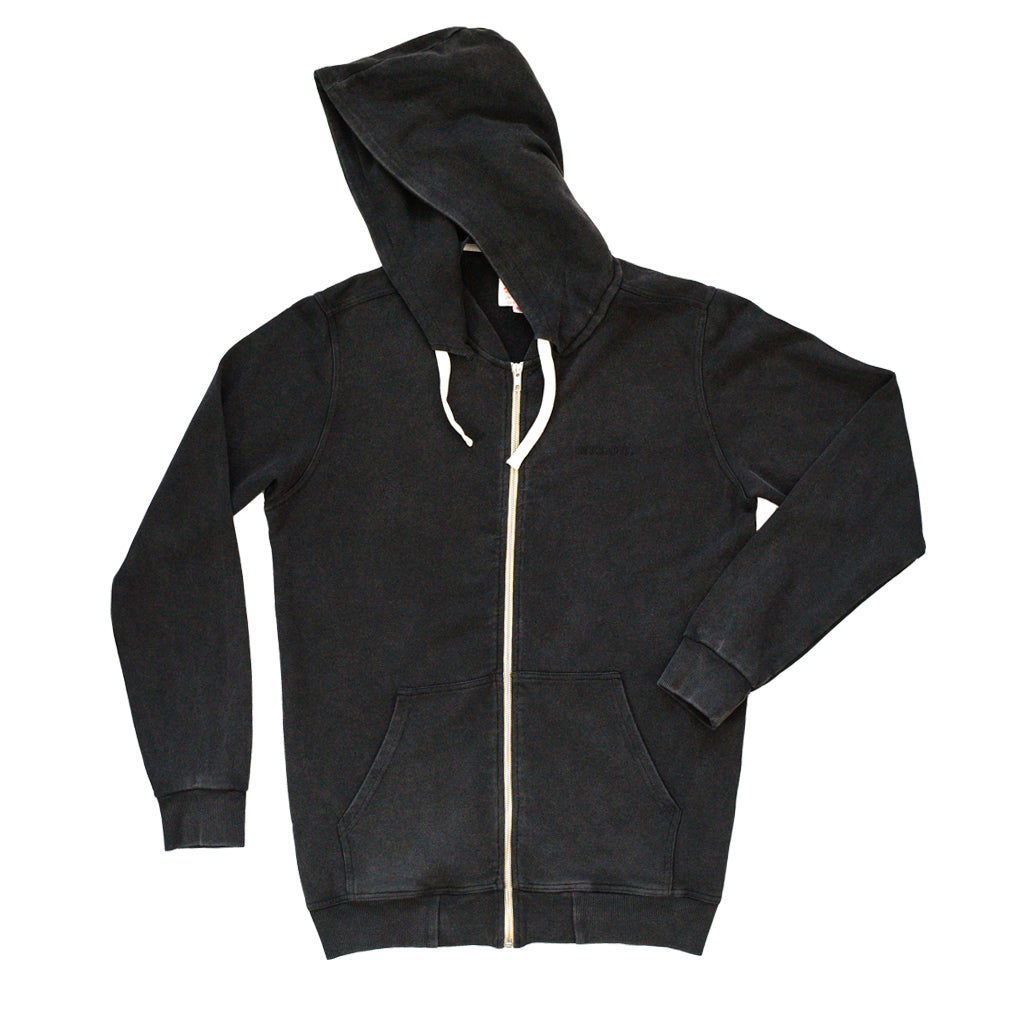 ZIPPER HOODIE - WASHED BLACK