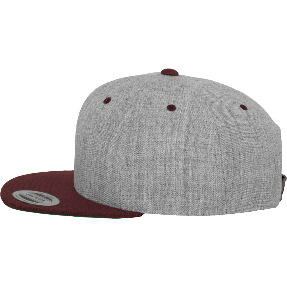 Yupoong - Snapback - Heather Grey/Maroon