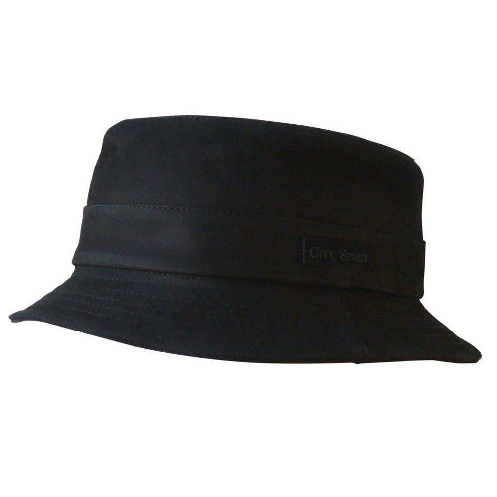 City Sport - Leather Bucket Hat - Black