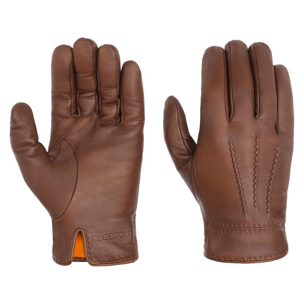 Stetson - Goat Leather Gloves - Brown
