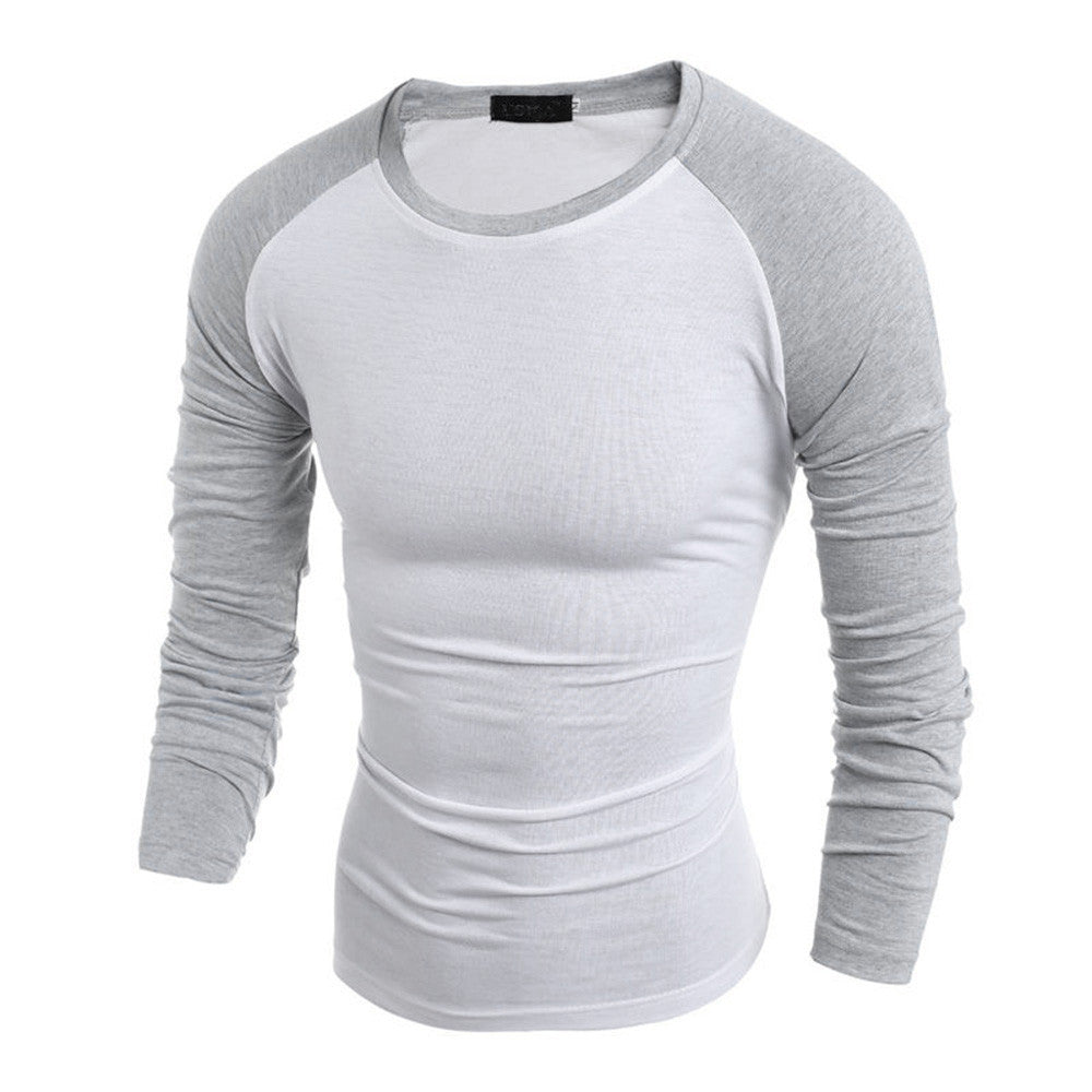 a1eb9793c3672 Men Long Sleeve T-Shirt Plain Cotton Tee Casual Bottoming Top Blouse Shirt