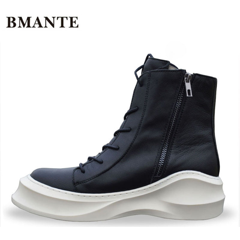 c29a8edf51e Zipper Real leather bootie brand fashion male Casual shoe tall Footwear high  top Thick sole tide