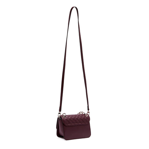 VALENTINA Quilt Mini Crossbody Flap Burgundy
