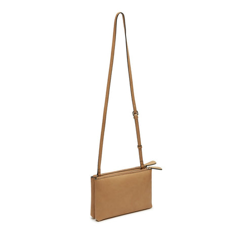 MALIA Mini Double Zip Crossbody Camel
