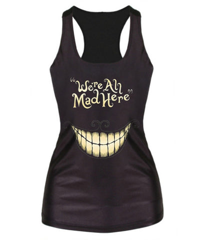 We're All Mad Here Black Tank Top