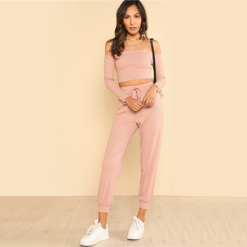 Fitness Drawstring Pants Set