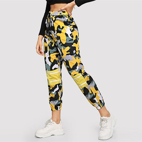 Sporty Camouflage Crop Pants