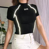 Fitnees Reflective Striped Crop Top