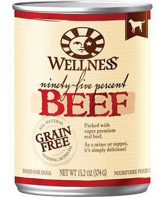 Wellness Natural Grain Free 95% Beef Recipe Adult Wet Canned Dog Food