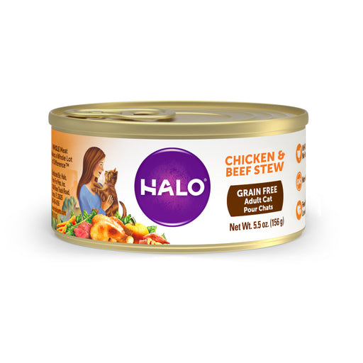 Halo Holistic Grain Free Adult Chicken & Beef Stew Canned Cat Food