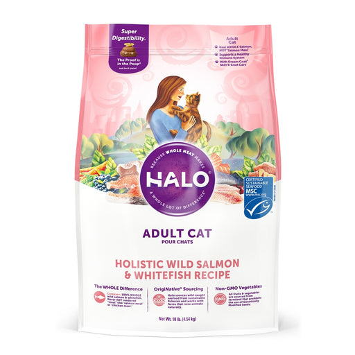 Halo Adult Holistic Wild Salmon & Whitefish Recipe Dry Cat Food