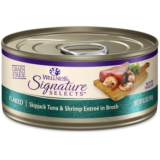 Wellness Signature Selects Grain Free Natural Skipjack Tuna with Shrimp Entree in Broth Wet Canned Cat Food
