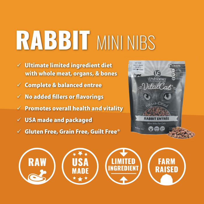Vital Essentials Freeze Dried Grain Free Rabbit Mini Nibs Entree for Cats Food