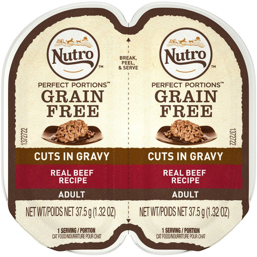Nutro Perfect Portions Grain Free Cuts In Gravy Real Beef Recipe Wet Cat Food Trays