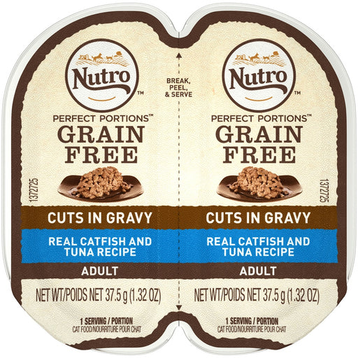 Nutro Perfect Portions Grain Free Cuts In Gravy Real Catfish & Tuna Recipe Wet Cat Food Trays