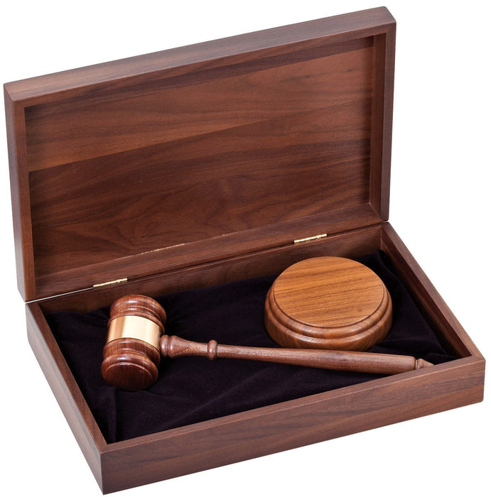 Walnut Gavel and Sounding Block in Box