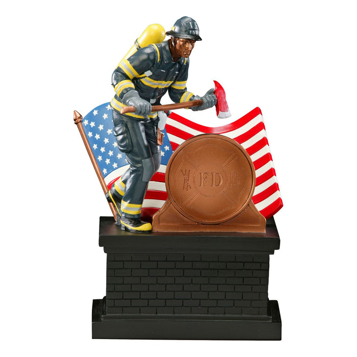 "Fireman with Axe and Flag with 2"" Round Color Imprint"