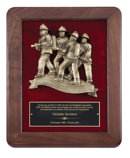 Walnut Fireman Casting Plaque