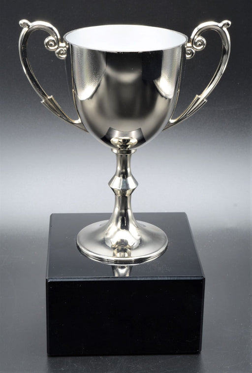 Bellissimo Metal Cup, Silver on Marble