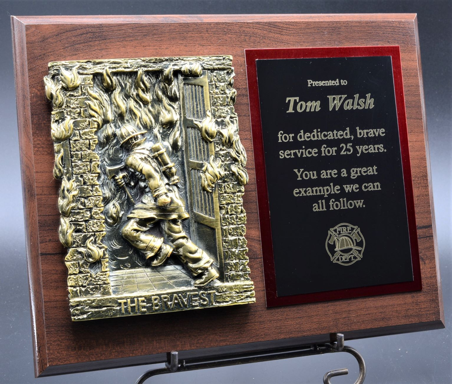 """The Bravest"" Firefighter Plaque"