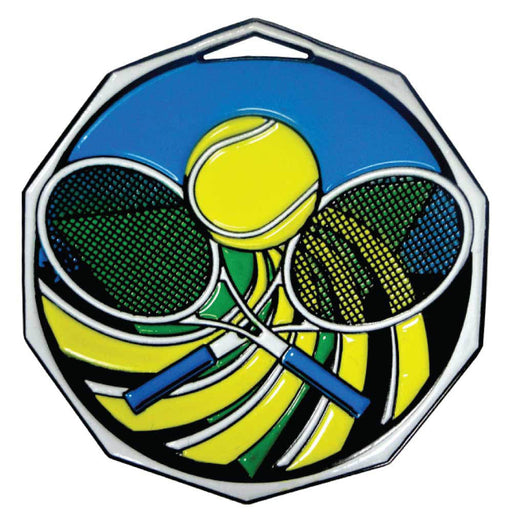 Decagon Shape Colored Medal - Tennis