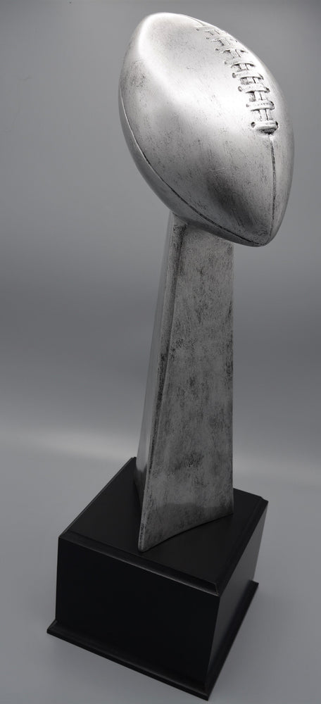Championship Football Resin on Wood Perpetual Base (Awesome For Fantasy)