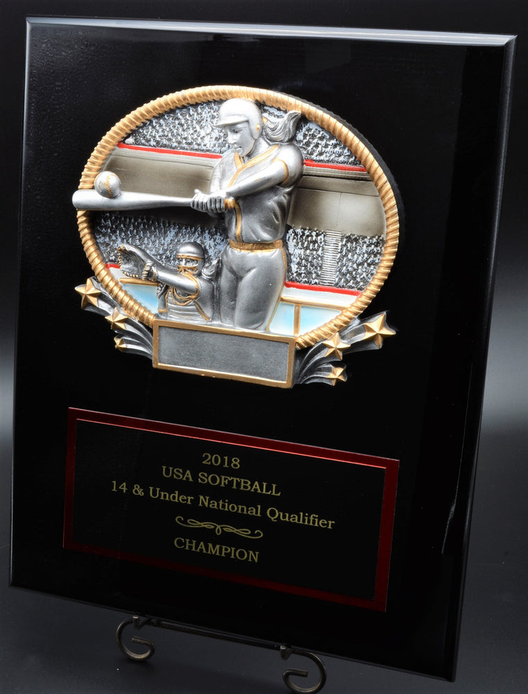 Softball Plaque, Black Piano Finish (2 Sizes)