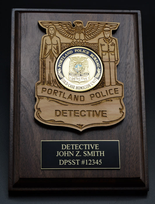 Police Challenge Coin Holder with Title in Badge  (2 Sizes)