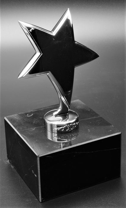 Silver Curved Metal Star on  Marble Base