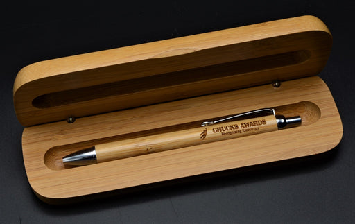 Bamboo Pen with Silver Trim and Matching Case