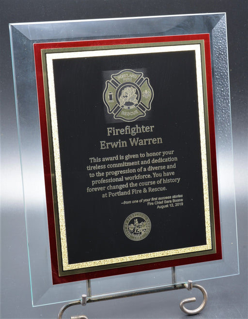 Fireman Glass Plaque