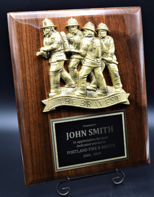 "Fireman Plaque with ""The Bravest"" Resin Mount"