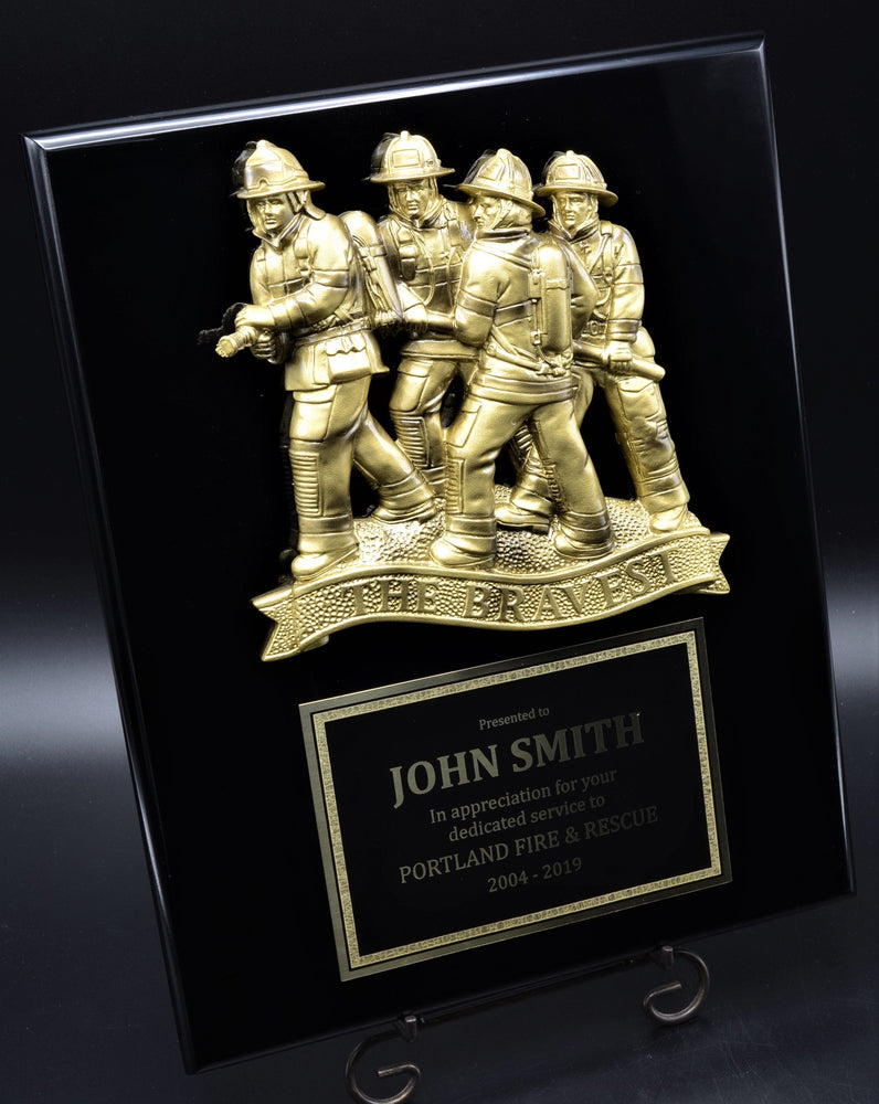 "Firefighter Plaque with ""The Bravest"" Resin Mount"