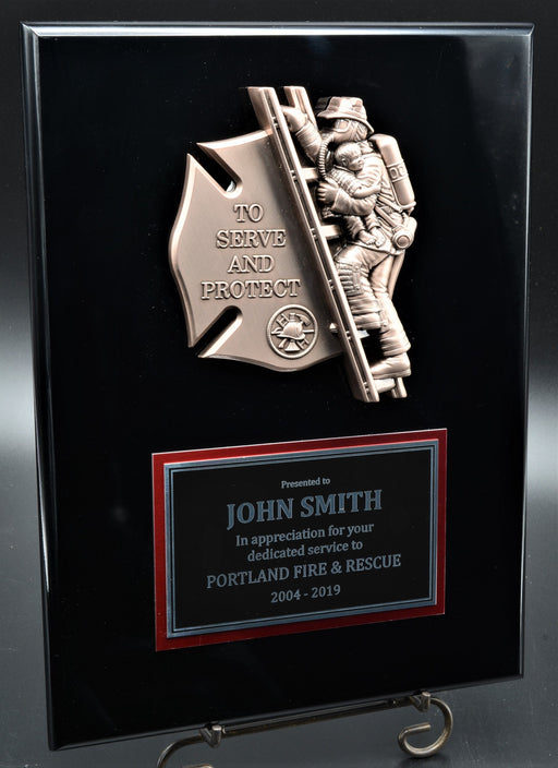 "Firefighter Plaque with ""Protect and Serve"" Metal Mount"