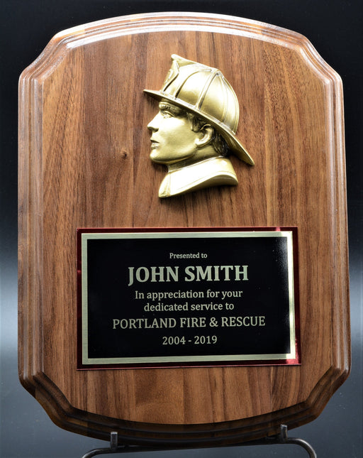 Notched Barrel Firefighter Plaque Genuine Walnut with Casting