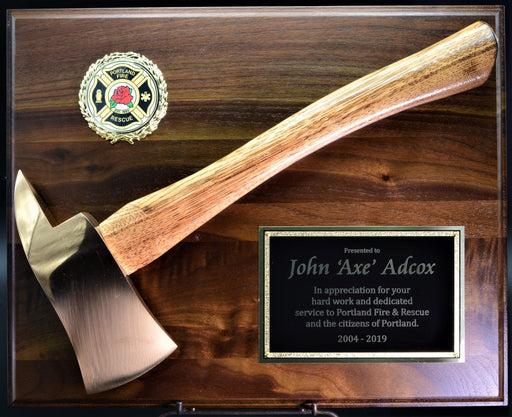 Small Firefighter Axe Plaque Brass Head Genuine Walnut Board