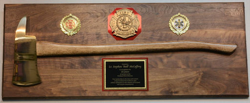 Large Firefighter Axe Plaque Brass Head Genuine Walnut Board