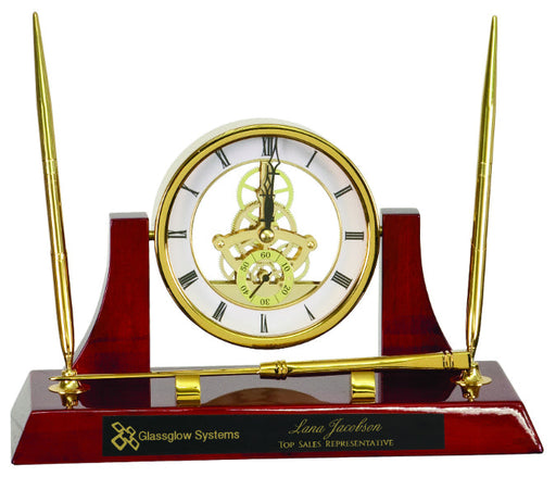 Gold & Rosewood Piano Finish Clock with 2 Pens & Letter Opener