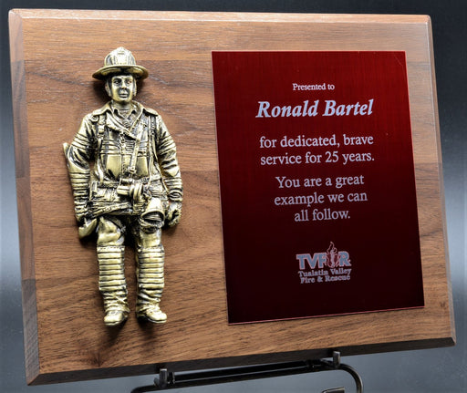 Firefighter Plaque with Painted casting.