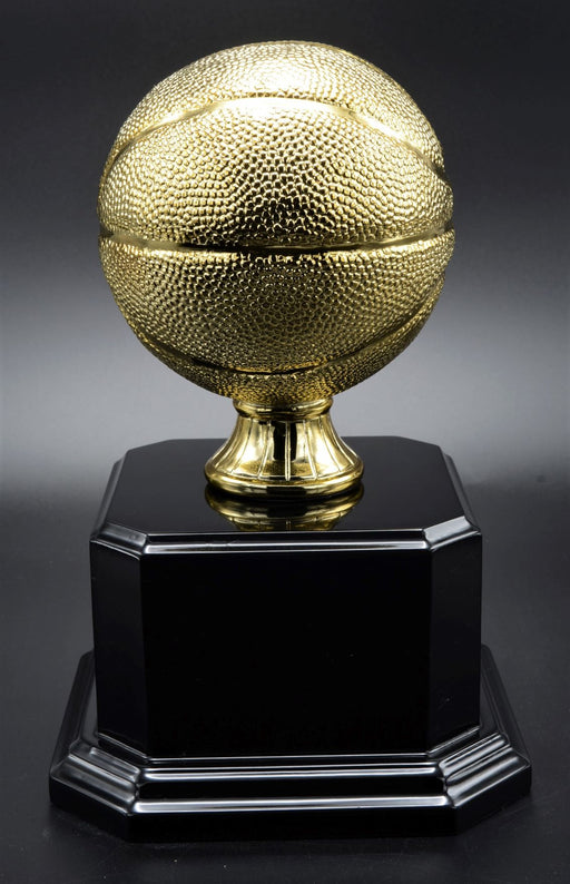 Gold Basketball on Black Piano Finish Base