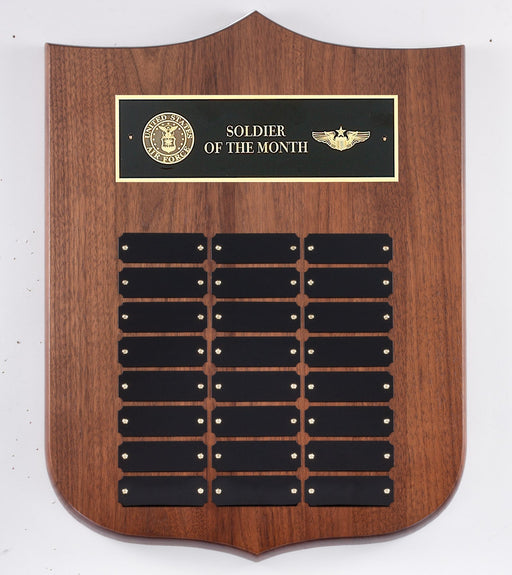 Walnut Perpetual Plate Plaque - Military